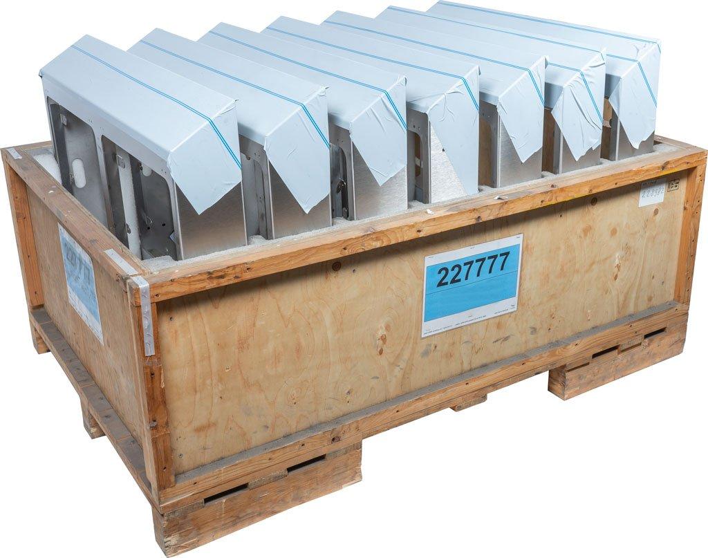 Rouleerverpakking met RVS geslepen zichtwerk kappen