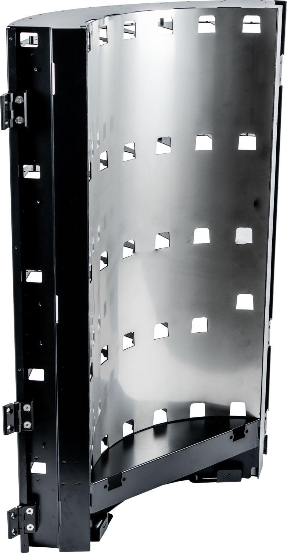 Assemblage uit gelast plaatwerk, gepoedercoat, met gewalst en gelijmd RVS paneel