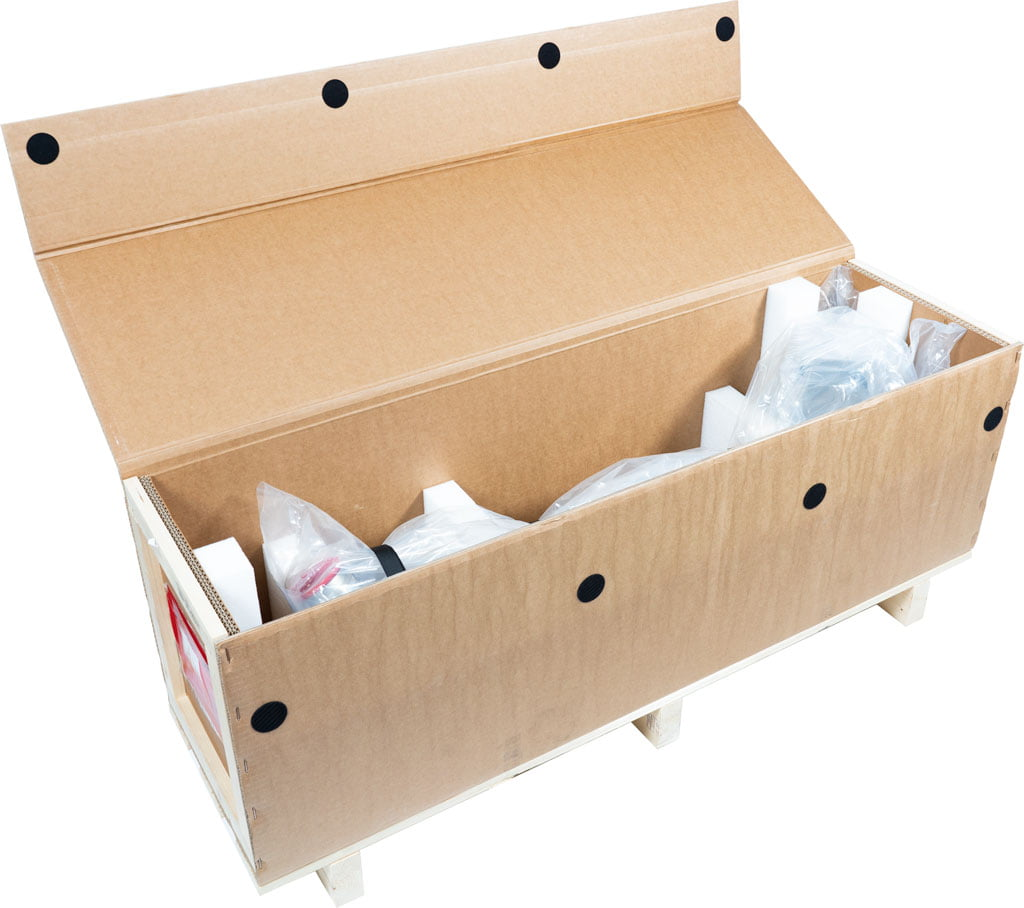 Logistiek: Wikkeldoos rouleerverpakking met binnenwerk en cleanroom gereinigd product